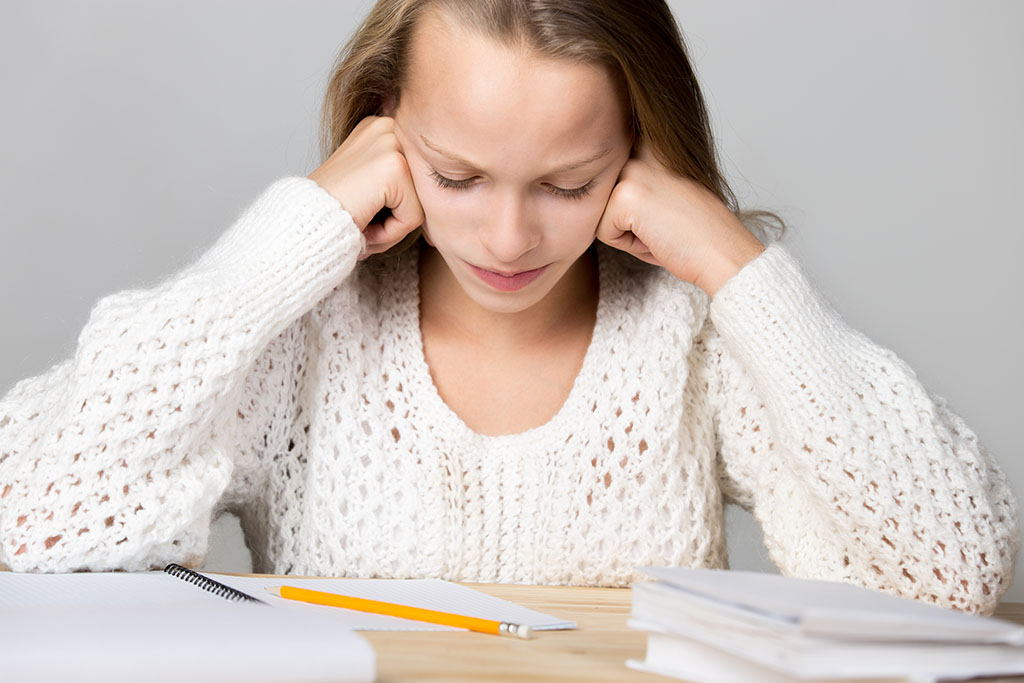 Schoolgirl upset with tough studying